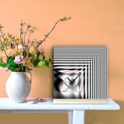 Tischuhr 30cmx30cm inkl. Alu-Ständer -modernes Design grau  geräuschloses Quarzuhrwerk -Wanduhr-Standuhr TU4096 DIXTIME