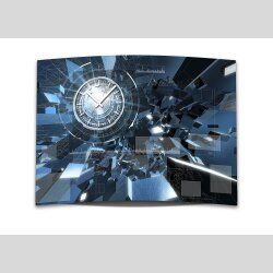 Wanduhr XXL 3D Optik Dixtime abstrakt blau Fragmente...