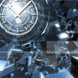 Wanduhr XXL 3D Optik Dixtime abstrakt blau Fragmente 50x70 cm leises Uhrwerk GR-002