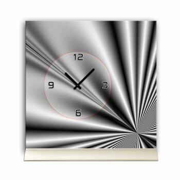 Tischuhr 30cmx30cm inkl. Alu-Ständer -edles Design metallic grau  geräuschloses Quarzuhrwerk -Wanduhr-Standuhr TU4099 DIXTIME