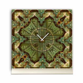Tischuhr 30cmx30cm inkl. Alu-Ständer -antikes Design Vintage  geräuschloses Quarzuhrwerk -Wanduhr-Standuhr TU4105 DIXTIME