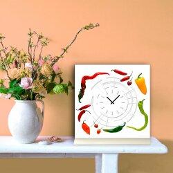 Tischuhr 30cmx30cm inkl. Alu-Ständer -modernes Design Paprika Peperoni geräuschloses Quarzuhrwerk -Küchenuhr-Standuhr TU4161 DIXTIME