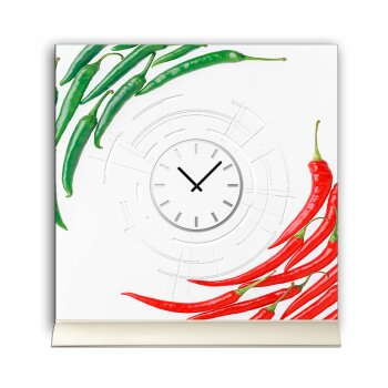 Tischuhr 30cmx30cm inkl. Alu-Ständer -modernes Design Chilli Peperoni  geräuschloses Quarzuhrwerk -Küchenuhr-Standuhr TU4162 DIXTIME