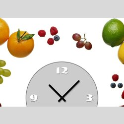 Tischuhr 30cmx30cm inkl. Alu-Ständer -modernes Design Obst Früchte Zitrone Orange Banane geräuschloses Quarzuhrwerk -Küchenuhr-Standuhr TU4178 DIXTIME