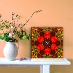 Tischuhr 30cmx30cm inkl. Alu-Ständer -modernes Design Apfel Kaleidoskop geräuschloses Quarzuhrwerk -Küchenuhr-Standuhr TU4179 DIXTIME
