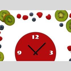 Tischuhr 30cmx30cm inkl. Alu-Ständer -modernes Design Obst Früchte Kiwi Beeren geräuschloses Quarzuhrwerk -Küchenuhr-Standuhr TU4180 DIXTIME