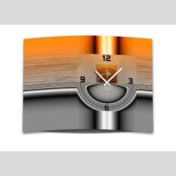 Wanduhr XXL 3D Optik Dixtime abstrakt orange grau 50x70...