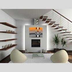 Wanduhr XXL 3D Optik Dixtime abstrakt orange grau 50x70...