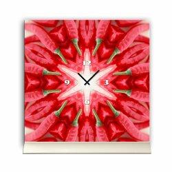 Tischuhr 30cmx30cm inkl. Alu-Ständer -modernes Design Gemüse Peperoni Chili  geräuschloses Quarzuhrwerk -Küchenuhr-Standuhr TU4183 DIXTIME