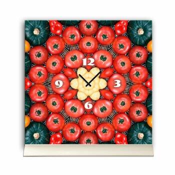 Tischuhr 30cmx30cm inkl. Alu-Ständer -modernes Design Gemüse Tomate Kürbis  geräuschloses Quarzuhrwerk -Küchenuhr-Standuhr TU4185 DIXTIME