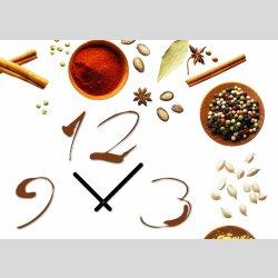 Tischuhr 30cmx30cm inkl. Alu-Ständer -modernes Design Gewürze Spice  geräuschloses Quarzuhrwerk -Küchenuhr-Standuhr TU4187 DIXTIME