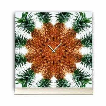 Tischuhr 30cmx30cm inkl. Alu-Ständer -modernes Design Ananas  geräuschloses Quarzuhrwerk -Wanduhr-Standuhr TU4188 DIXTIME