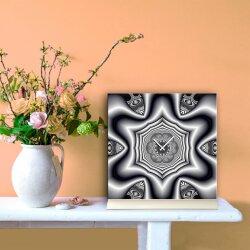 Tischuhr 30cmx30cm inkl. Alu-Ständer -abstraktes Design grau geräuschloses Quarzuhrwerk -Wanduhr-Standuhr TU4195 DIXTIME