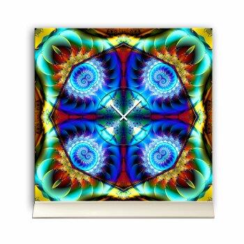 Tischuhr 30cmx30cm inkl. Alu-Ständer -abstraktes Design Kaleidoskop Fraktal bunt  geräuschloses Quarzuhrwerk -Wanduhr-Standuhr TU4196 DIXTIME