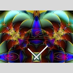 Tischuhr 30cmx30cm inkl. Alu-Ständer -abstraktes Design Kaleidoskop bunt  geräuschloses Quarzuhrwerk -Wanduhr-Standuhr TU4197 DIXTIME
