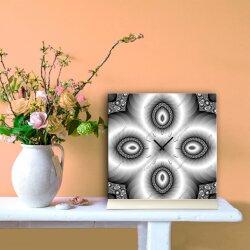 Tischuhr 30cmx30cm inkl. Alu-Ständer -abstraktes Design grau   geräuschloses Quarzuhrwerk -Wanduhr-Standuhr TU4198 DIXTIME