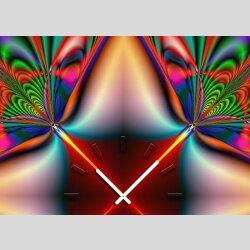 Tischuhr 30cmx30cm inkl. Alu-Ständer -abstraktes Design Kaleidoskop bunt geräuschloses Quarzuhrwerk -Wanduhr-Standuhr TU4199 DIXTIME