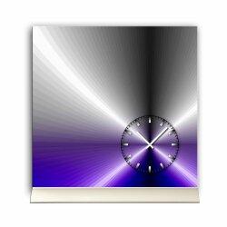Tischuhr 30cmx30cm inkl. Alu-Ständer -edles Design metallic blau lila  geräuschloses Quarzuhrwerk -Wanduhr-Standuhr TU4202 DIXTIME