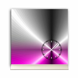 Tischuhr 30cmx30cm inkl. Alu-Ständer -edles Design metallic magenta geräuschloses Quarzuhrwerk -Wanduhr-Standuhr TU4205 DIXTIME