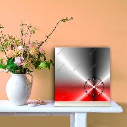 Tischuhr 30cmx30cm inkl. Alu-Ständer -edles Design metallic rot  geräuschloses Quarzuhrwerk -Wanduhr-Standuhr TU4206 DIXTIME