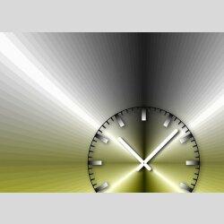 Tischuhr 30cmx30cm inkl. Alu-Ständer -edles Design metallic gelb  geräuschloses Quarzuhrwerk -Wanduhr-Standuhr TU4208 DIXTIME