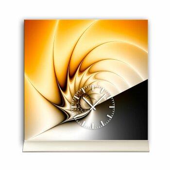 Tischuhr 30cmx30cm inkl. Alu-Ständer -edles Design cognacfarben  geräuschloses Quarzuhrwerk -Wanduhr-Standuhr TU4210 DIXTIME