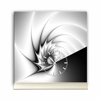 Tischuhr 30cmx30cm inkl. Alu-Ständer -edles Design grau schwarz  geräuschloses Quarzuhrwerk -Wanduhr-Standuhr TU4213 DIXTIME