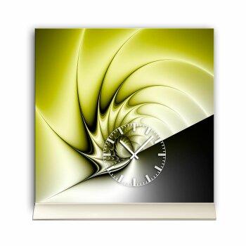 Tischuhr 30cmx30cm inkl. Alu-Ständer -edles Design  geräuschloses Quarzuhrwerk -Wanduhr-Standuhr TU4214 DIXTIME