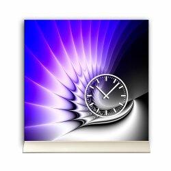 Tischuhr 30cmx30cm inkl. Alu-Ständer -edles Design lila blau geräuschloses Quarzuhrwerk -Wanduhr-Standuhr TU4215 DIXTIME