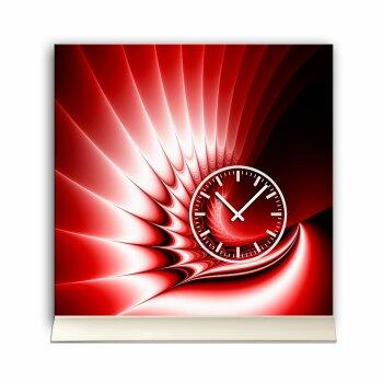 Tischuhr 30cmx30cm inkl. Alu-Ständer -edles Design rot  geräuschloses Quarzuhrwerk -Wanduhr-Standuhr TU4219 DIXTIME