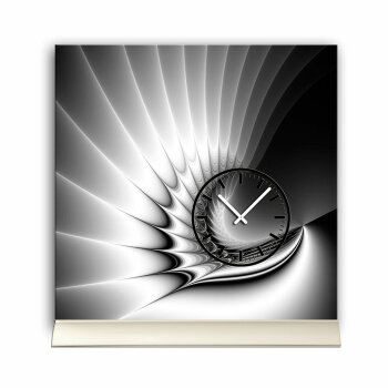 Tischuhr 30cmx30cm inkl. Alu-Ständer -edles Design grau schwarz  geräuschloses Quarzuhrwerk -Wanduhr-Standuhr TU4220 DIXTIME
