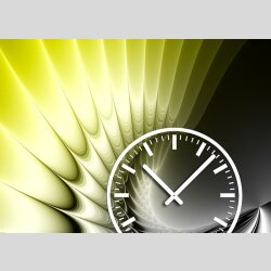 Tischuhr 30cmx30cm inkl. Alu-Ständer -edles Design gelb  geräuschloses Quarzuhrwerk -Wanduhr-Standuhr TU4221 DIXTIME
