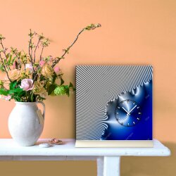Tischuhr 30cmx30cm inkl. Alu-Ständer -edles Design kobaltblau silbergrau  geräuschloses Quarzuhrwerk -Wanduhr-Standuhr TU4223 DIXTIME