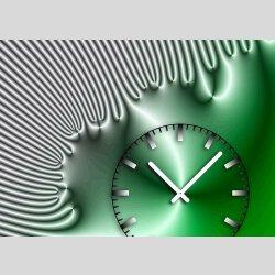 Tischuhr 30cmx30cm inkl. Alu-Ständer -edles Design grün silbergrau  geräuschloses Quarzuhrwerk -Wanduhr-Standuhr TU4225 DIXTIME