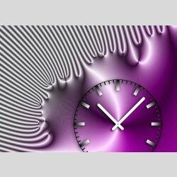 Tischuhr 30cmx30cm inkl. Alu-Ständer -edles Design silbergrau pink  geräuschloses Quarzuhrwerk -Wanduhr-Standuhr TU4229 DIXTIME