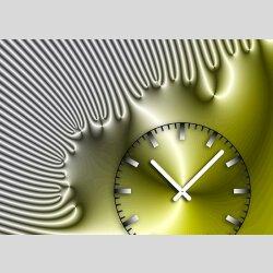 Tischuhr 30cmx30cm inkl. Alu-Ständer -edles Design silbergrau gelb  geräuschloses Quarzuhrwerk -Wanduhr-Standuhr TU4230 DIXTIME