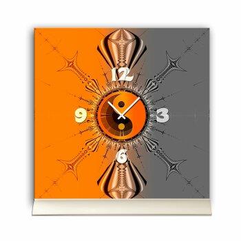 Tischuhr 30cmx30cm inkl. Alu-Ständer -mystisches Design Yin Yang orange grau  geräuschloses Quarzuhrwerk -Wanduhr-Standuhr TU4239 DIXTIME