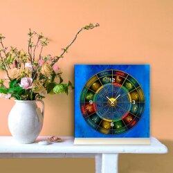 Tischuhr 30cmx30cm inkl. Alu-Ständer -modernes Design Astro Sternzeichen Zodiac geräuschloses Quarzuhrwerk -Wanduhr-Standuhr TU4243 DIXTIME