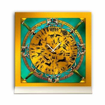 Tischuhr 30cmx30cm inkl. Alu-Ständer -mystisches Design Ägypten Hieroglyphen  geräuschloses Quarzuhrwerk -Wanduhr-Standuhr TU4244 DIXTIME