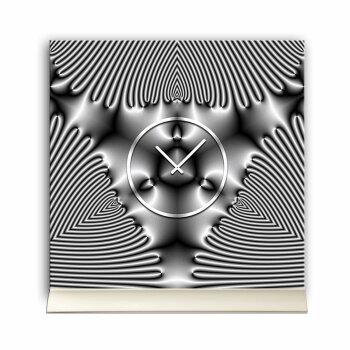 Tischuhr 30cmx30cm inkl. Alu-Ständer -edles Design silbergrau  geräuschloses Quarzuhrwerk -Wanduhr-Standuhr TU4254 DIXTIME