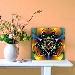 Tischuhr 30cmx30cm inkl. Alu-Ständer -edles Design Kaleidoskop grün orange  geräuschloses Quarzuhrwerk -Wanduhr-Standuhr TU4257 DIXTIME