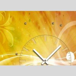 Tischuhr 30cmx30cm inkl. Alu-Ständer -Vintage Design pink gelb  geräuschloses Quarzuhrwerk -Wanduhr-Standuhr TU4269 DIXTIME