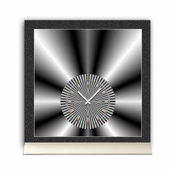 Tischuhr 30cmx30cm inkl. Alu-Ständer -edles Design silbergrau  geräuschloses Quarzuhrwerk -Wanduhr-Standuhr TU4274 DIXTIME