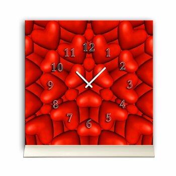 Tischuhr 30cmx30cm inkl. Alu-Ständer -modernes Design Herzen rot  geräuschloses Quarzuhrwerk -Wanduhr-Standuhr TU4276 DIXTIME