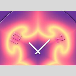 Tischuhr 30cmx30cm inkl. Alu-Ständer -abstraktes Design lila pink  geräuschloses Quarzuhrwerk -Wanduhr-Standuhr TU4311 DIXTIME