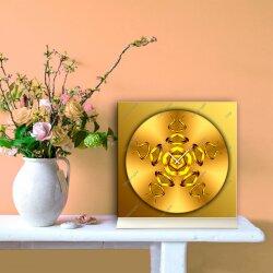 Tischuhr 30cmx30cm inkl. Alu-Ständer -edles Design kupfergold  geräuschloses Quarzuhrwerk -Wanduhr-Standuhr TU4312 DIXTIME