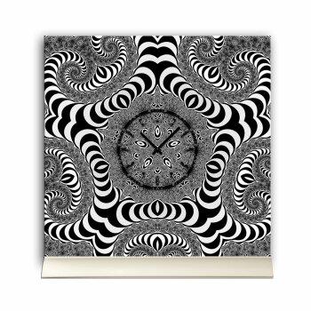 Tischuhr 30cmx30cm inkl. Alu-Ständer -Zentangle Design Fraktal schwarz weiß geräuschloses Quarzuhrwerk -Wanduhr-Standuhr TU4313 DIXTIME