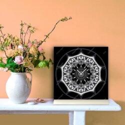 Tischuhr 30cmx30cm inkl. Alu-Ständer -mystisches Design schwarz silbergrau  geräuschloses Quarzuhrwerk -Wanduhr-Standuhr TU4314 DIXTIME