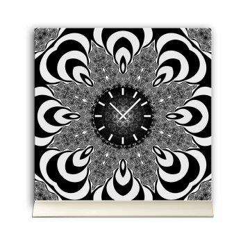 Tischuhr 30cmx30cm inkl. Alu-Ständer -Zentangle Design Muster schwarz weiß  geräuschloses Quarzuhrwerk -Wanduhr-Standuhr TU4316 DIXTIME
