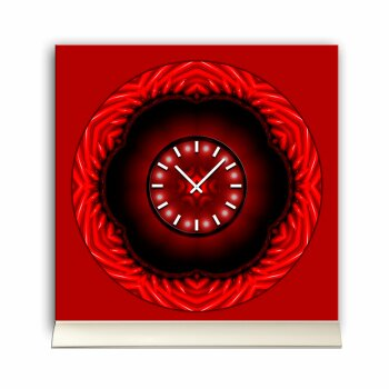 Tischuhr 30cmx30cm inkl. Alu-Ständer -abstraktes Design rot  geräuschloses Quarzuhrwerk -Wanduhr-Standuhr TU4317 DIXTIME